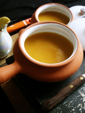 Roasted Butternut Squash and Ginger Soup,with caramelised onions