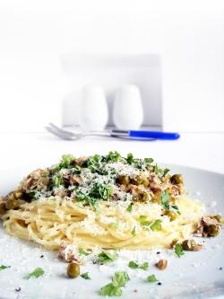 Tuna Pasta, with peas and a creamy sauce