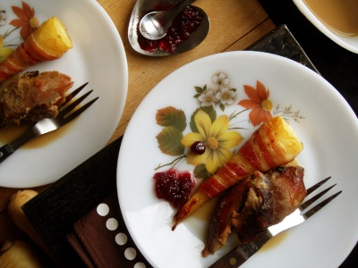 Roasted Turkey Drumsticks,with onion gravy, roast potatoes and bacon-wrapped parsnips