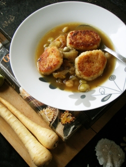 Vegetable Soup with Parsnip Fritters,leeks and marrowfat peas